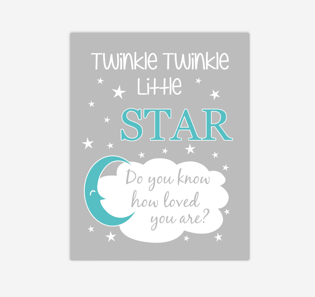 Teal Twinkle Little Star Baby Boy Girl Nursery Wall Art Print Canvas Decor Inspirational Kids Bedroom Quotes