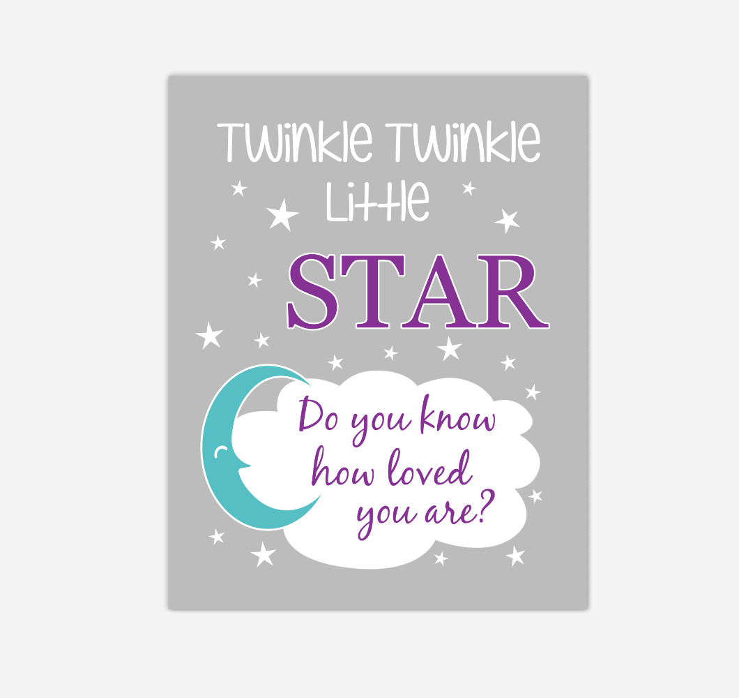 Purple Teal Twinkle Little Star Baby Girl Nursery Wall Art Print Canvas Decor Inspirational Kids Bedroom Quotes