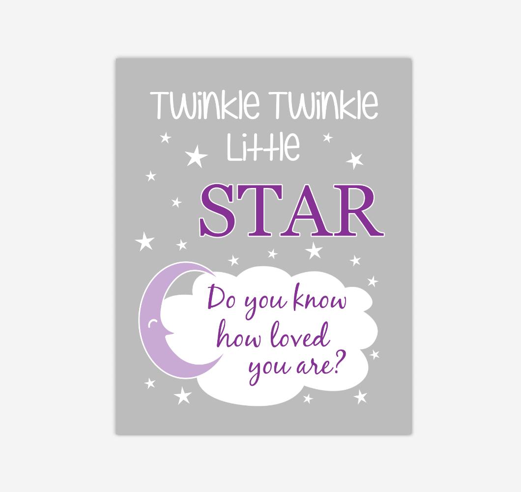 Purple Twinkle Little Star Baby Girl Nursery Wall Art Print Canvas Decor Inspirational Kids Bedroom Quotes 02270