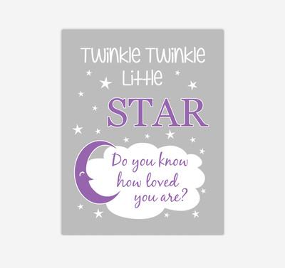 Purple Twinkle Little Star Baby Girl Nursery Wall Art Print Canvas Decor Inspirational Kids Bedroom Quotes