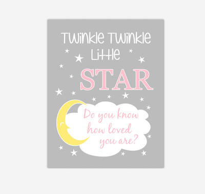 Pink Yellow Twinkle Little Star Baby Girl Nursery Wall Art Print Canvas Decor Inspirational Kids Bedroom Quotes