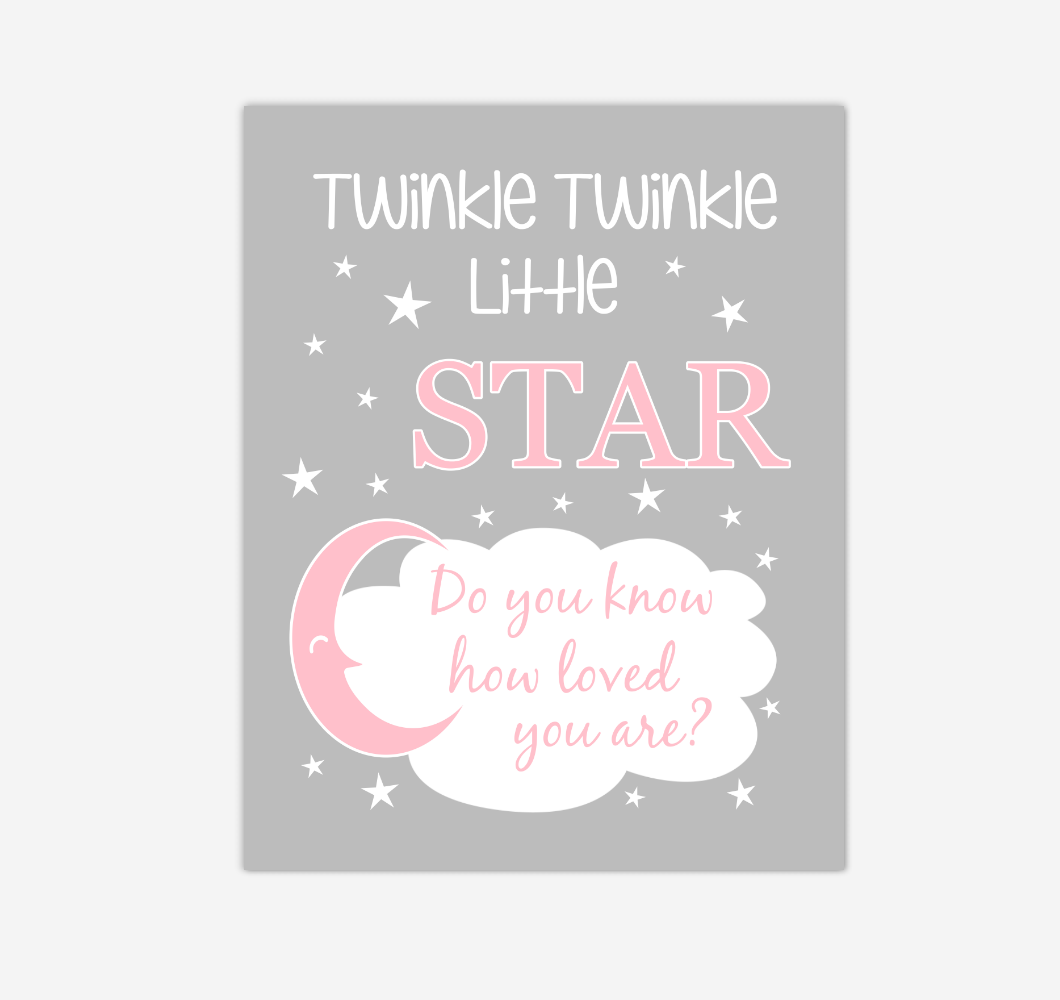 Pink Gray Twinkle Little Star Baby Girl Nursery Wall Art Print Canvas Decor Inspirational Kids Bedroom Quotes 02274