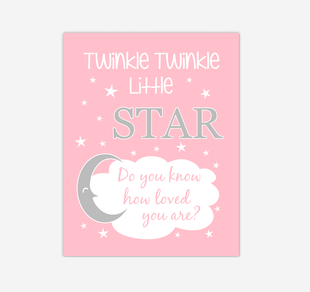 Pink Gray Twinkle Little Star Baby Girl Nursery Wall Art Print Canvas Decor Inspirational Kids Bedroom Quotes 02275