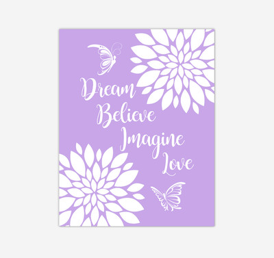 Purple Dahlia Floral Butterfly Baby Girl Nursery Wall Art Print Canvas Flower Decor Inspirational Kids Bedroom Quotes