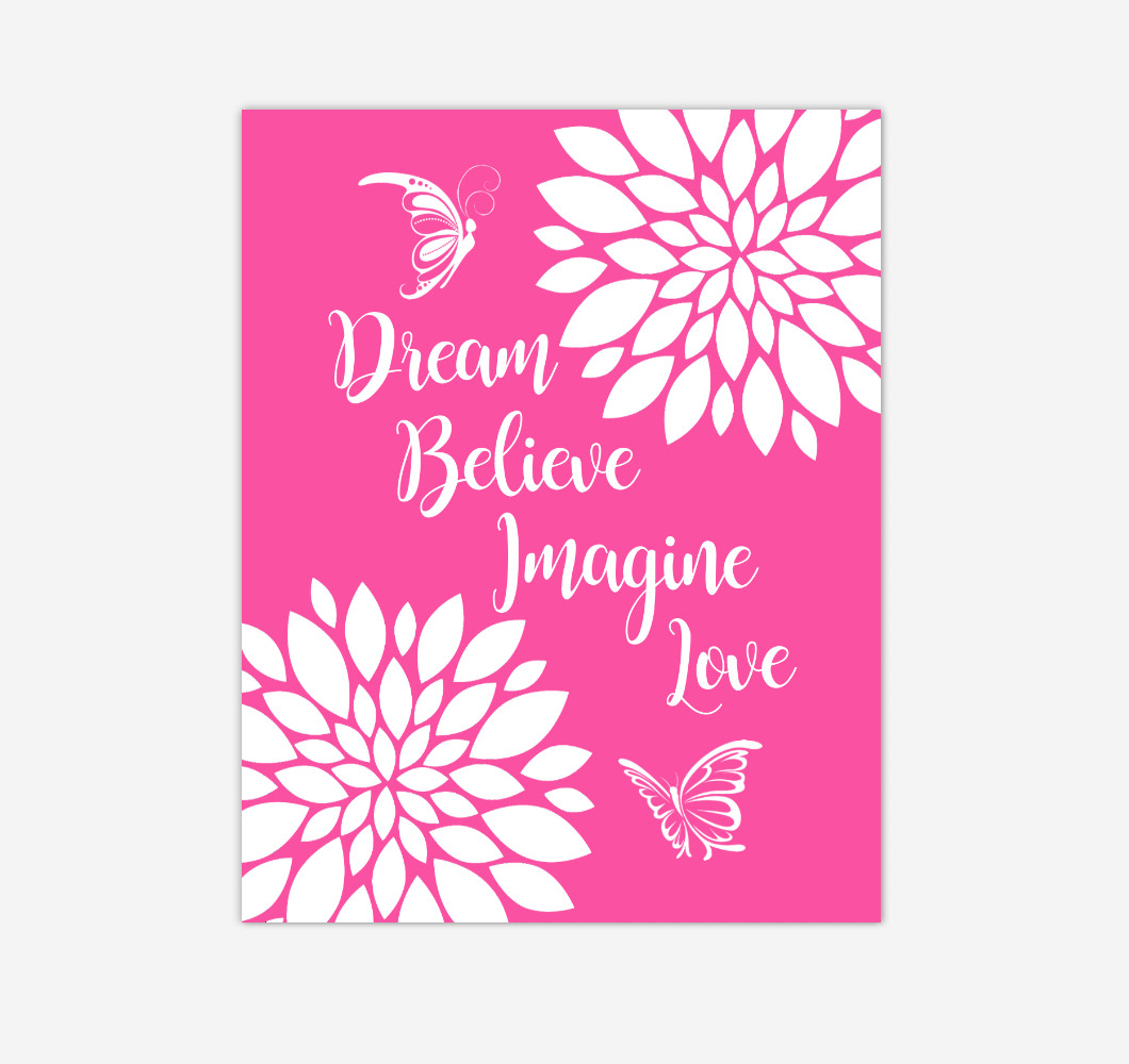 Pink Dahlia Floral Butterfly Baby Girl Nursery Wall Art Print Canvas Flower Decor Inspirational Kids Bedroom Quotes