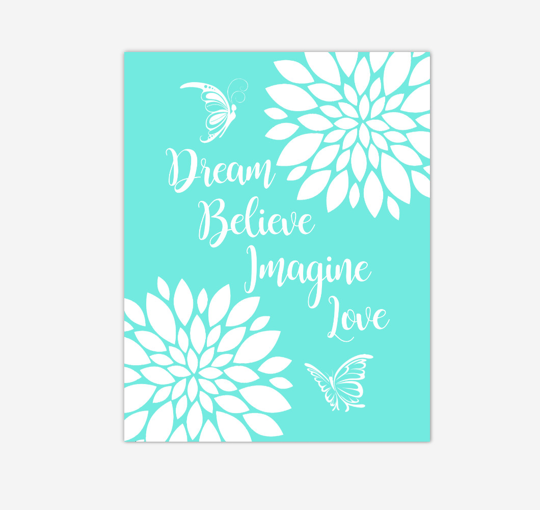 Mint Green Dahlia Floral Butterfly Baby Girl Nursery Wall Art Print Canvas Flower Decor Inspirational Kids Bedroom Quotes