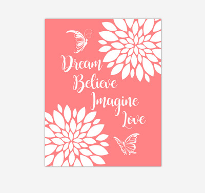 Coral Dahlia Floral Butterfly Baby Girl Nursery Wall Art Print Canvas Flower Decor Inspirational Kids Bedroom Quotes