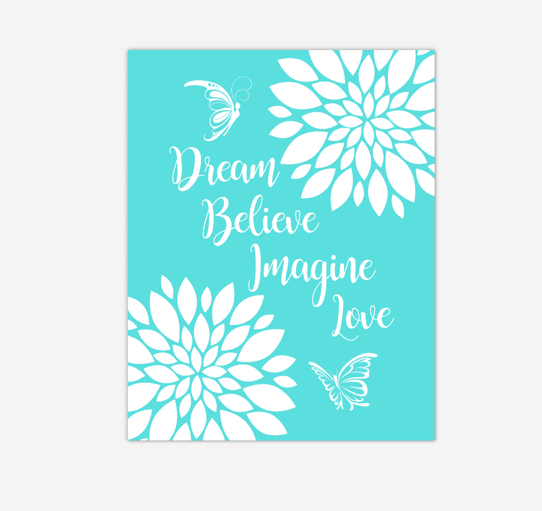 Teal Dahlia Floral Butterfly Baby Girl Nursery Wall Art Print Canvas Flower Decor Inspirational Kids Bedroom Quotes 02283