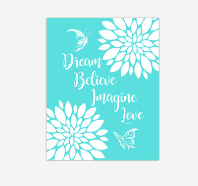 Teal Dahlia Floral Butterfly Baby Girl Nursery Wall Art Print Canvas Flower Decor Inspirational Kids Bedroom Quotes