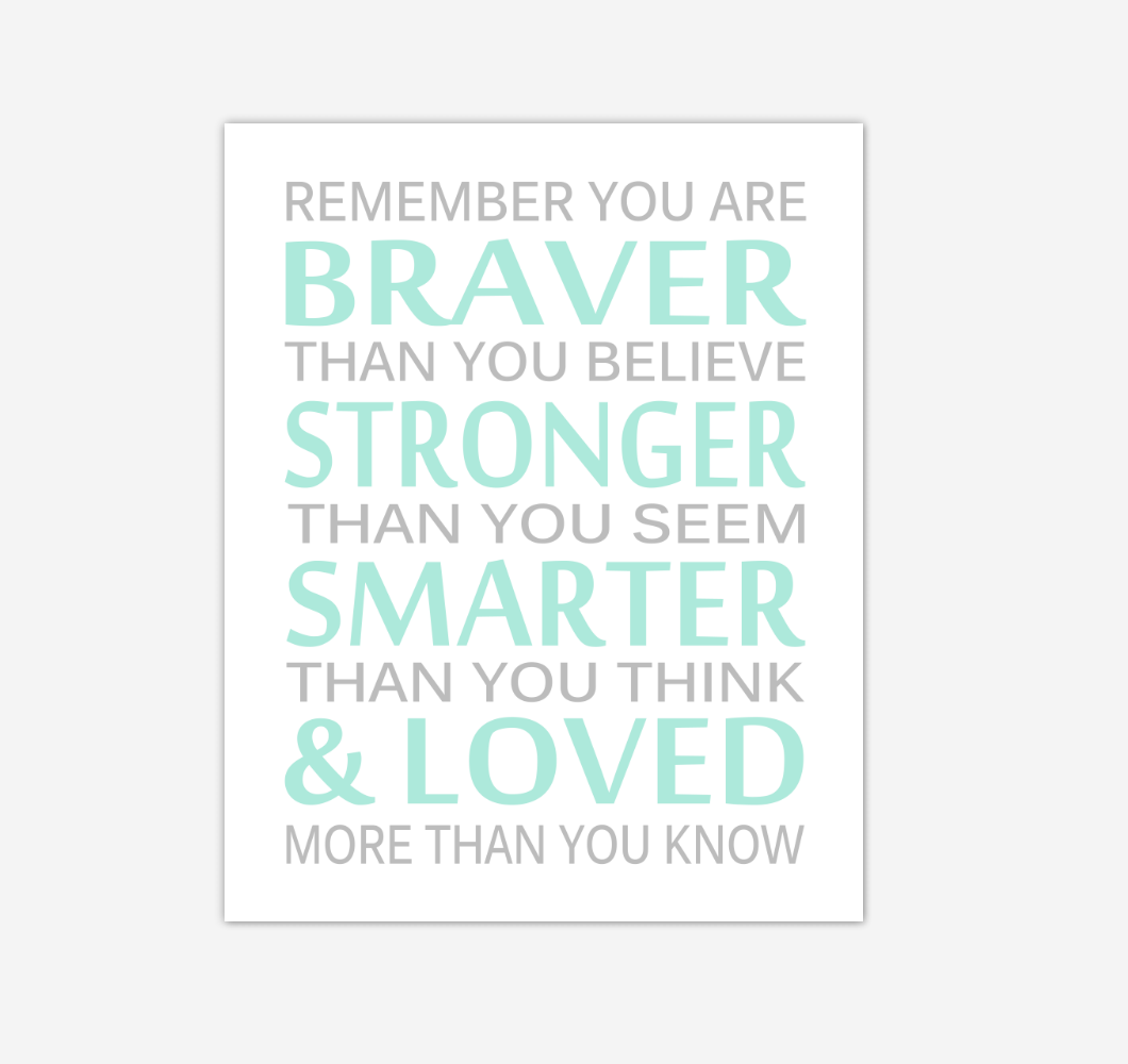 Mint Green Gray Remember You Are Braver Baby Boy Nursery Wall Art Print Canvas Decor Inspirational Quotes 02284