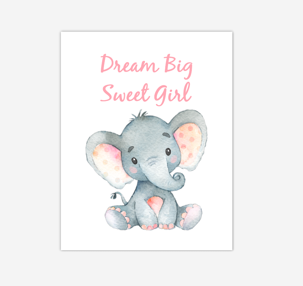 Elephant Baby Girl Nursery Wall Art Canvas Prints Safari Animals Dream Big Baby Nursery Decor 02285