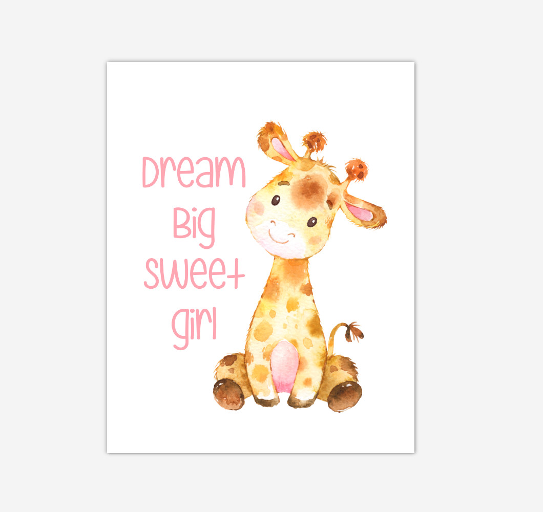 Giraffe Baby Girl Nursery Wall Art Canvas Prints Safari Animals Dream Big Baby Nursery Decor