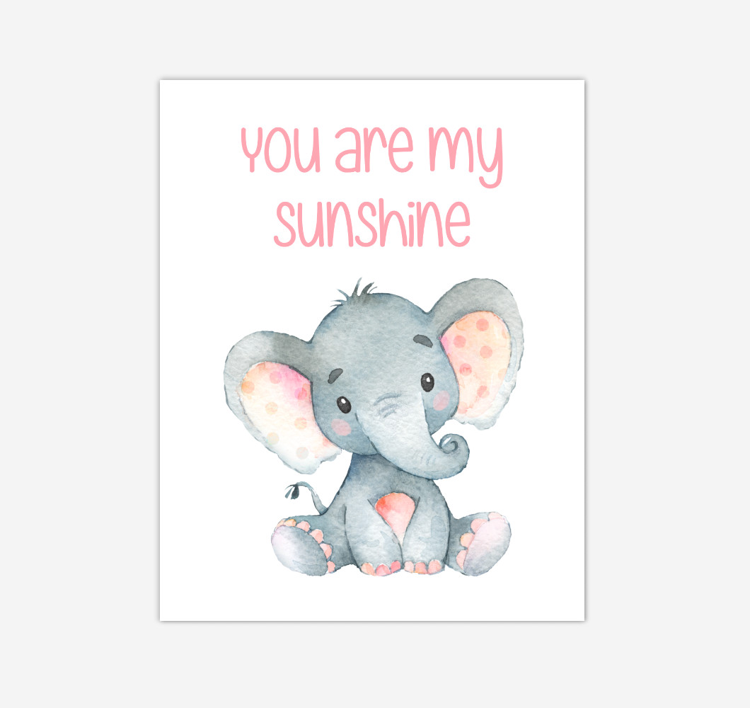 Elephant Baby Girl Nursery Wall Art Canvas Prints Safari Animals You Are My Sunshine Baby Nursery Decor
