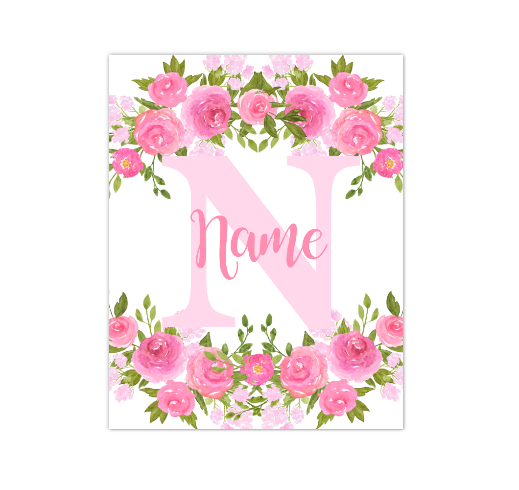 Pink Floral Watercolor Flowers Personalized Baby Girl Nursery Wall Art Canvas Prints Girl Bedroom Decor 02288