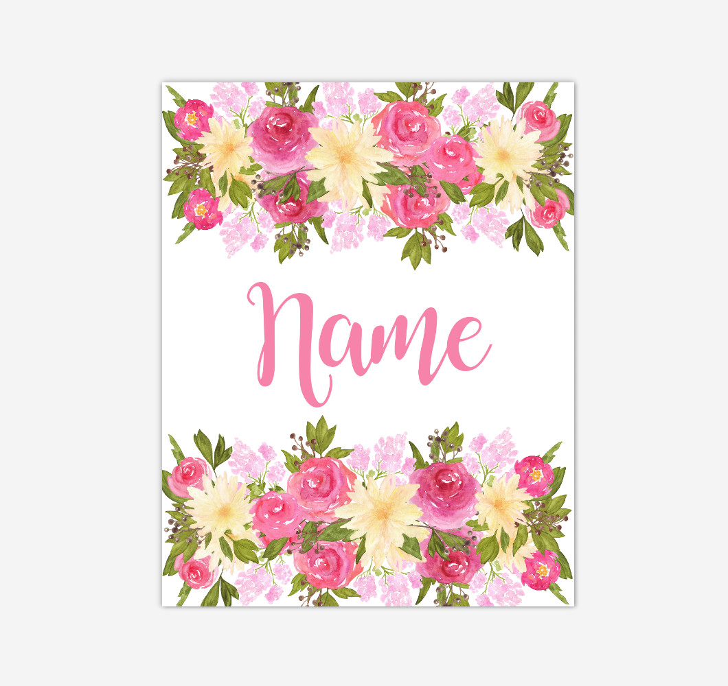 Pink Yellow Floral Watercolor Flowers Personalized Baby Girl Nursery Wall Art Canvas Prints Girl Bedroom Decor