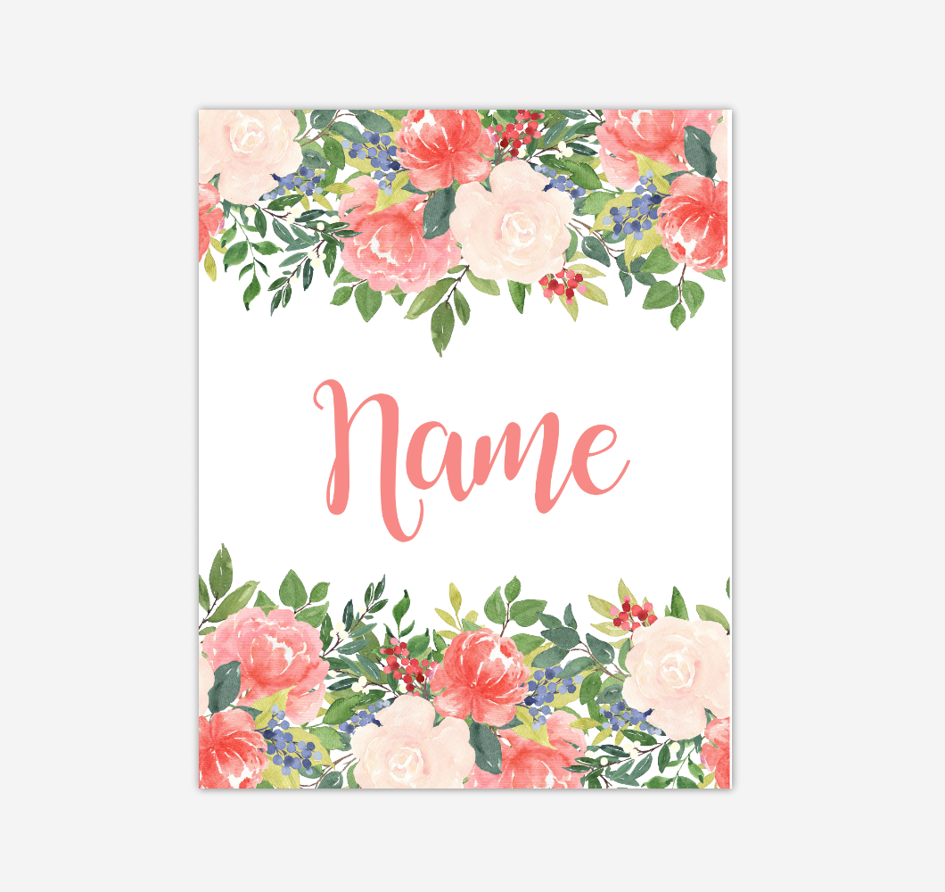 Coral Floral Watercolor Flowers Personalized Baby Girl Nursery Wall Art Canvas Prints Girl Bedroom Decor 02290