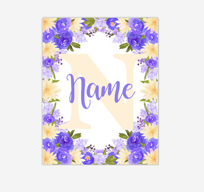 Purple Yellow Floral Watercolor Flowers Personalized Baby Girl Nursery Wall Art Canvas Prints Girl Bedroom Decor