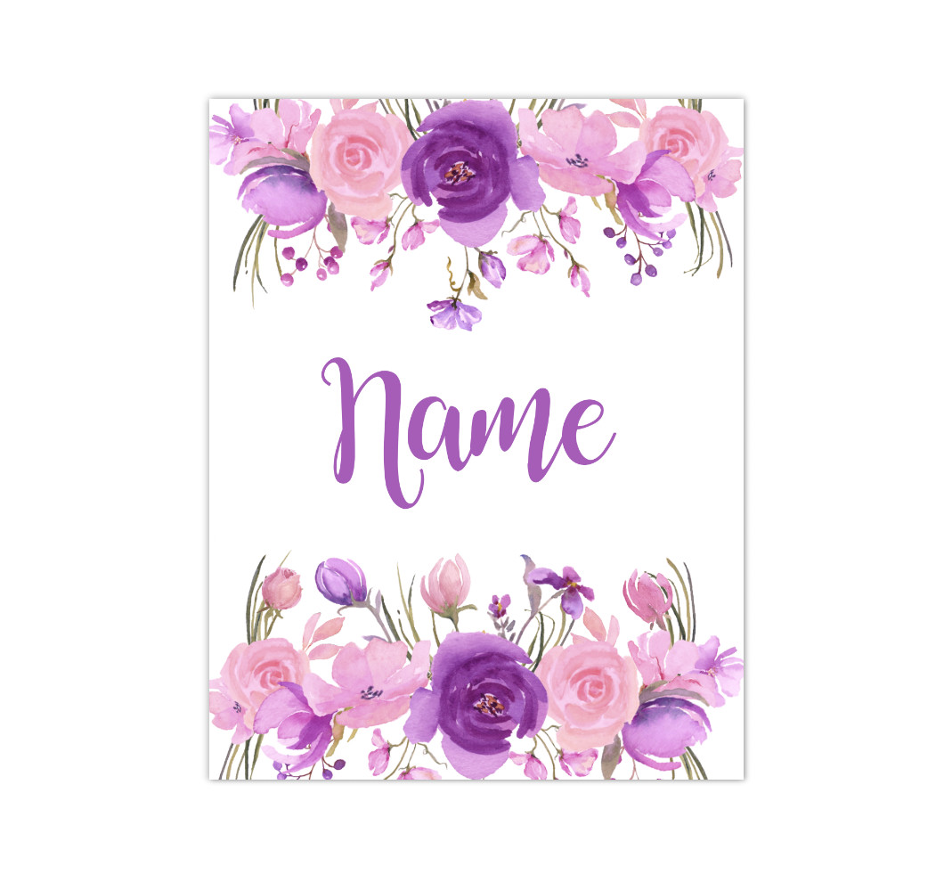 Pink Purple Floral Watercolor Flowers Personalized Baby Girl Nursery Wall Art Canvas Prints Girl Bedroom Decor
