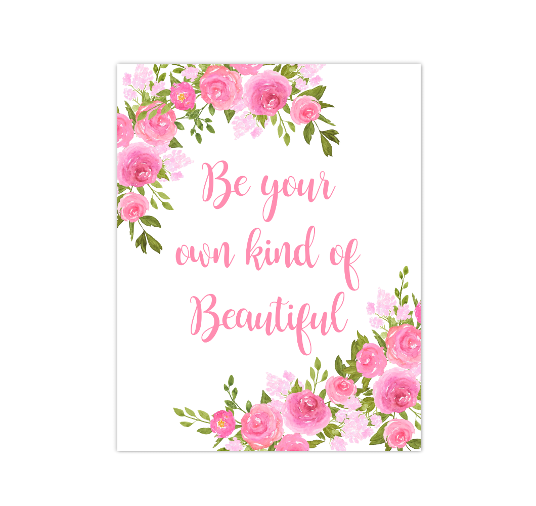 Pink Floral Watercolor Flowers Baby Girl Nursery Wall Art Canvas Prints Girl Bedroom Inspirational Quote Decor 02294