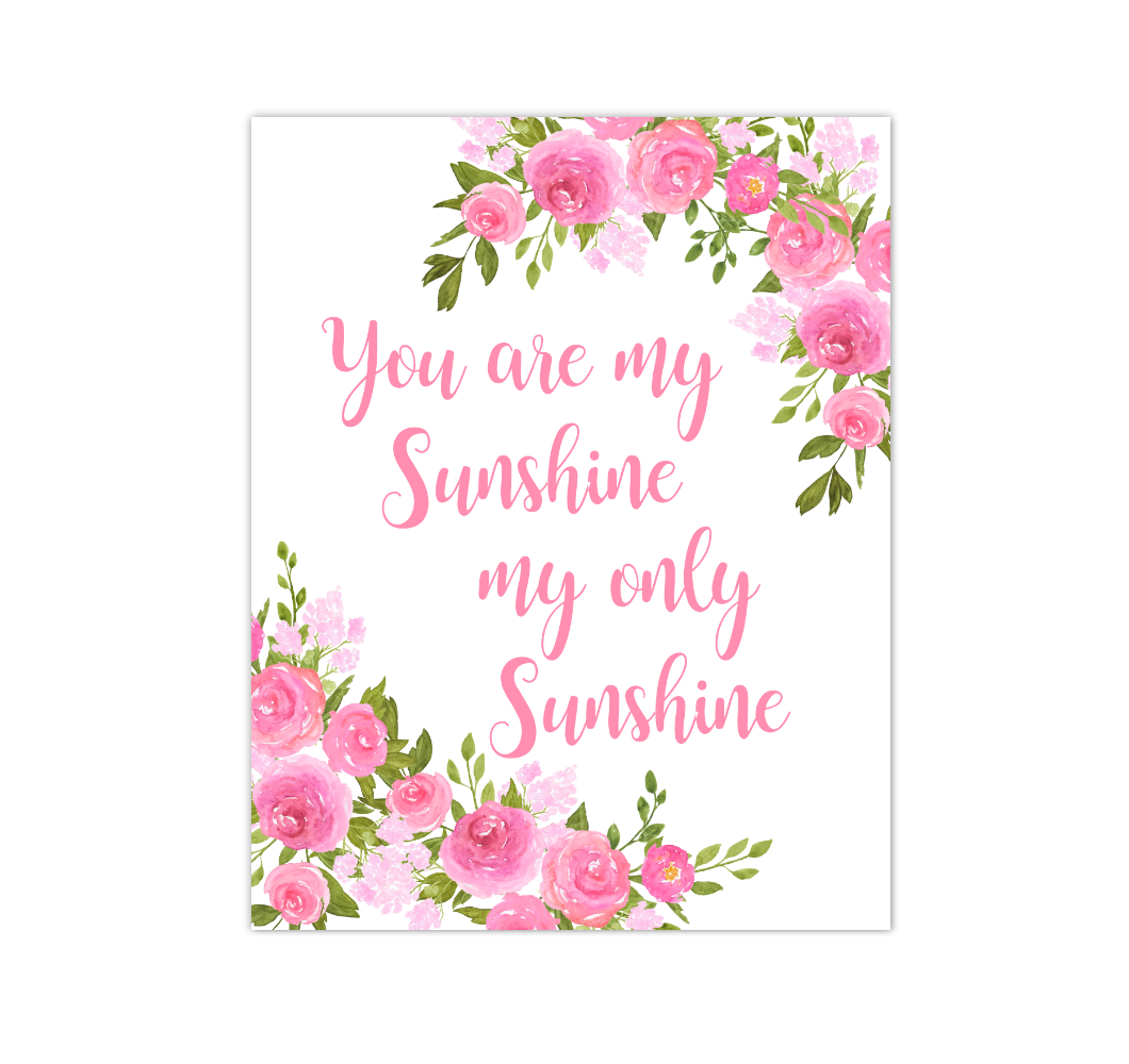 Pink Floral Watercolor Flowers Baby Girl Nursery Wall Art Canvas Prints Girl Bedroom Inspirational Quote Decor 02296