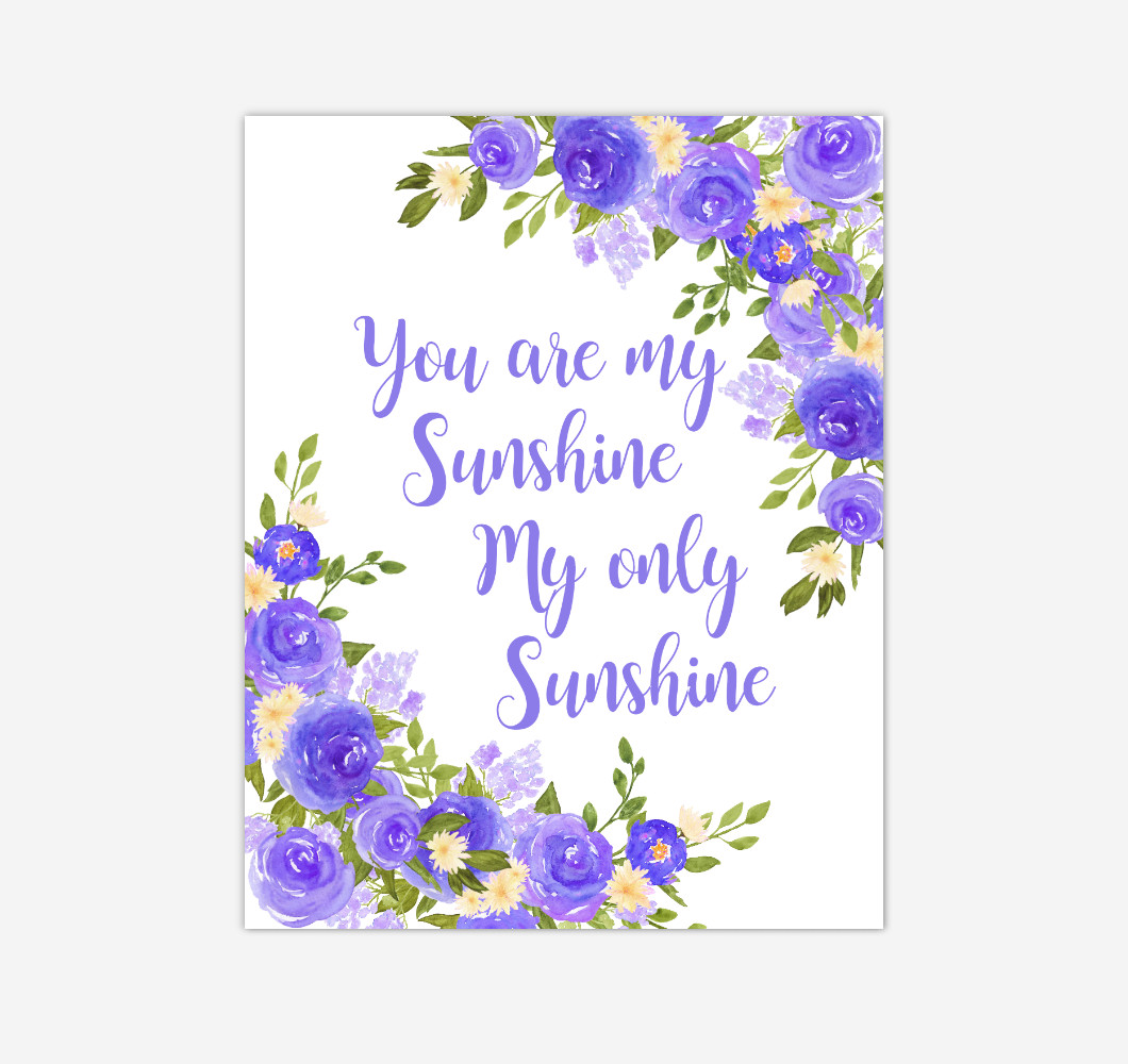 Purple Yellow Floral Watercolor Flowers Baby Girl Nursery Wall Art Canvas Prints Girl Bedroom Inspirational Quote Decor
