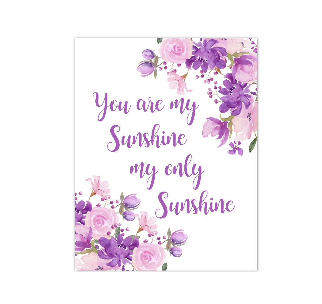 Pink Purple Floral Watercolor Flowers Baby Girl Nursery Wall Art Canvas Prints Girl Bedroom Inspirational Quote Decor 02303