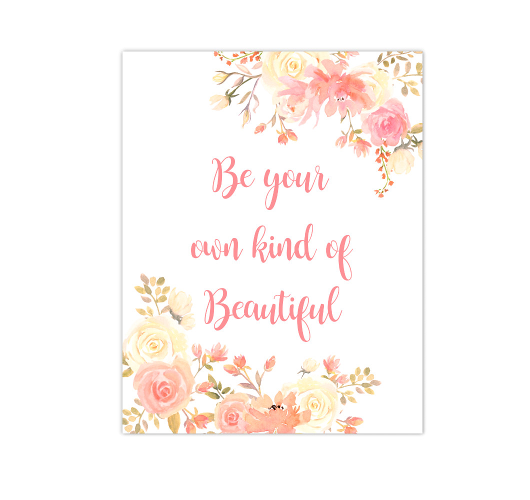 Coral Yellow Floral Watercolor Flowers Baby Girl Nursery Wall Art Canvas Prints Girl Bedroom Inspirational Quote Decor