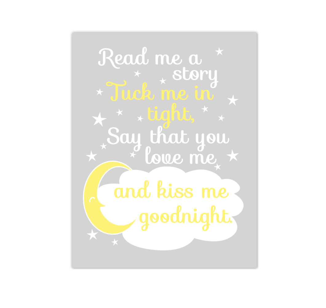 Yellow Gray Read Me A Story Baby Girl Nursery Wall Art Canvas Prints Kids Decor Children Sayings Quotes