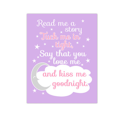 Pink Lavender Read Me A Story Baby Girl Nursery Wall Art Canvas Prints Kids Decor Children Sayings Quotes