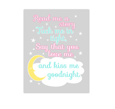 Pink Aqua Yellow Read Me A Story Baby Girl Nursery Wall Art Canvas Prints Kids Decor Children Sayings Quotes