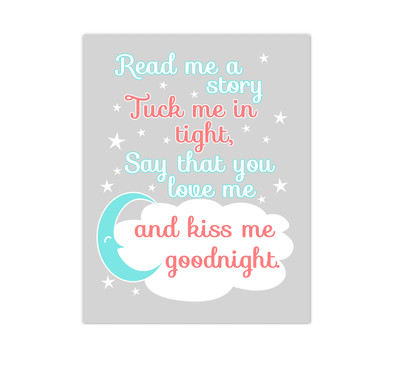 Coral Aqua Teal Read Me A Story Baby Girl Nursery Wall Art Canvas Prints Kids Decor Children Sayings Quotes