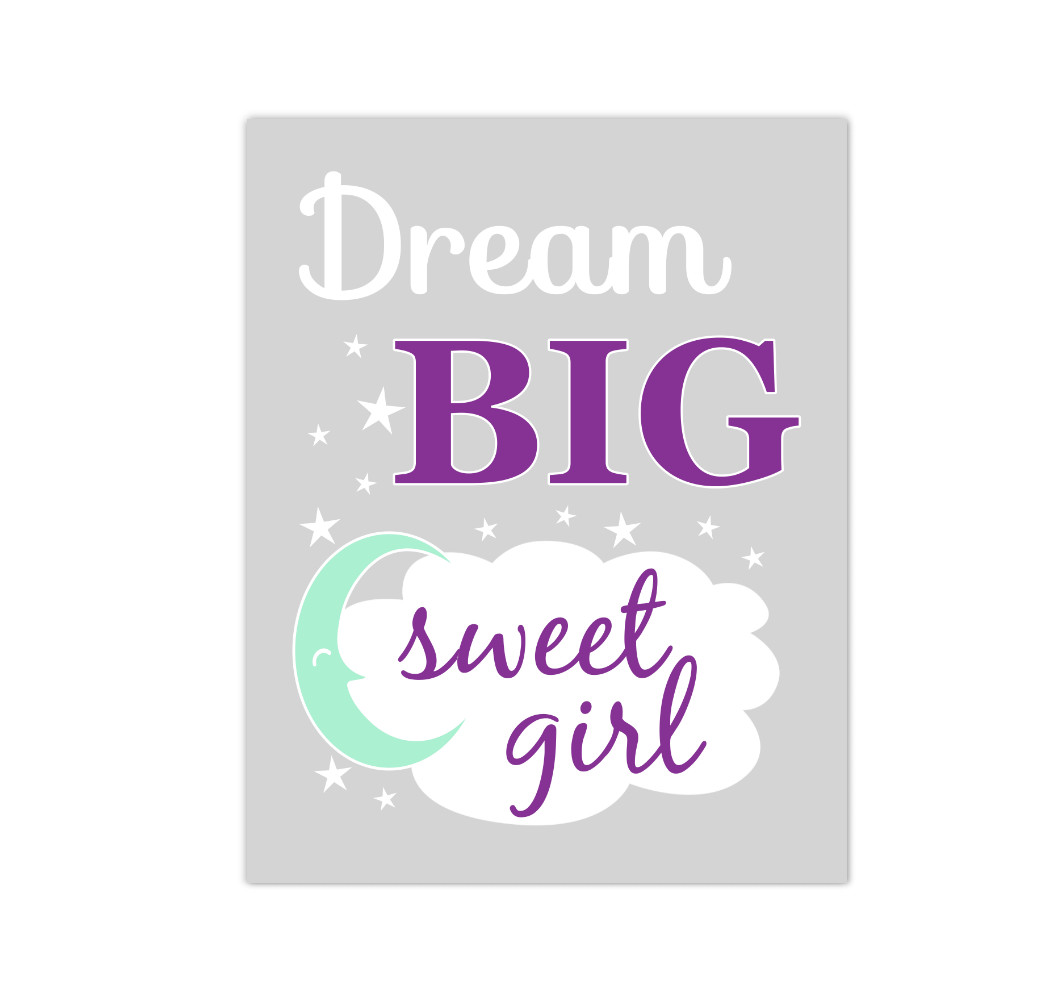 Purple Mint Dream Big Baby Girl Nursery Wall Art Canvas Prints Child Quote Sayings Bedroom Decor