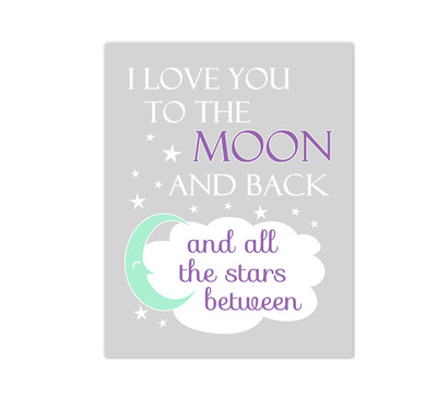 Purple Mint I Love You To The Moon and Back Baby Girl Nursery Wall Art Canvas Prints Child Quote Sayings Bedroom Decor