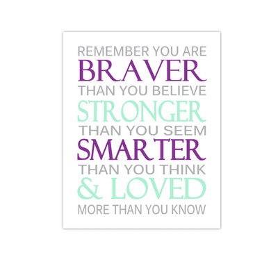 Purple Mint Remember You Are Braver Baby Girl Nursery Wall Art Canvas Prints Child Quote Sayings Bedroom Decor