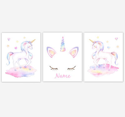 Rainbow Unicorn Wall Art Girl Bedroom Art Unicorn Baby Nursery Decor Art Prints Personalized Prints or Canvas