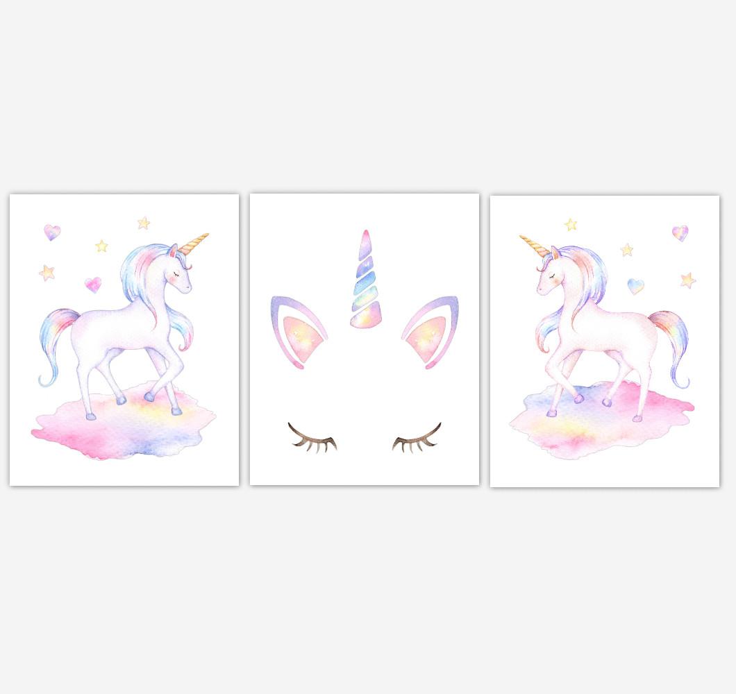 Rainbow Unicorn Wall Art Girl Bedroom Art Unicorn Baby Nursery Decor Art Prints or Canvas