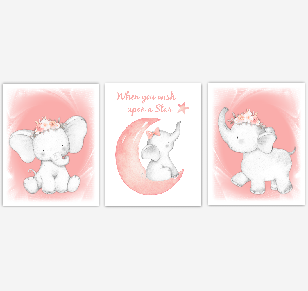 Coral Elephant Baby Girl Nursery Decor Wall Art Prints Elephant Home Decor Kids Bedroom Pictures Set of 3 UNFRAMED PRINTS or CANVAS 39258