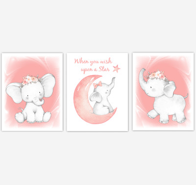 Coral Elephant Baby Girl Nursery Decor Wall Art Prints Elephant Home Decor Kids Bedroom Pictures​ Set of 3 UNFRAMED PRINTS or CANVAS