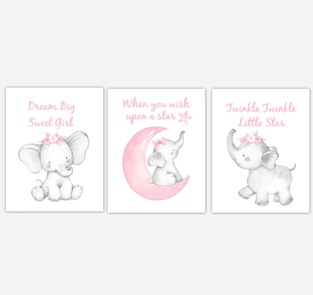 Pink Elephant Baby Girl Nursery Decor Watercolor Wall Art Shower Gift Kids Bedroom Pictures Set of 3 UNFRAMED PRINTS or CANVAS