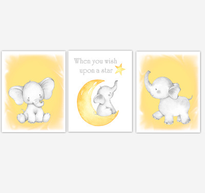 Yellow Elephant Baby Girl Nursery Decor Watercolor Wall Art Shower Gift Kids Bedroom Pictures Set of 3 UNFRAMED PRINTS or CANVAS