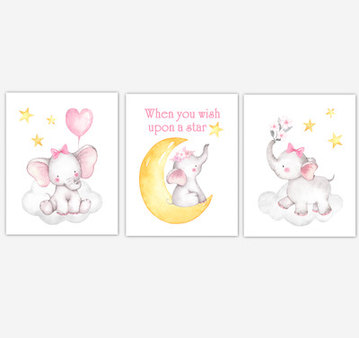 Pink Yellow Elephant Baby Girl Nursery Decor Watercolor Wall Art Shower Gift Safari Animals Pictures of 3 UNFRAMED PRINTS or CANVAS