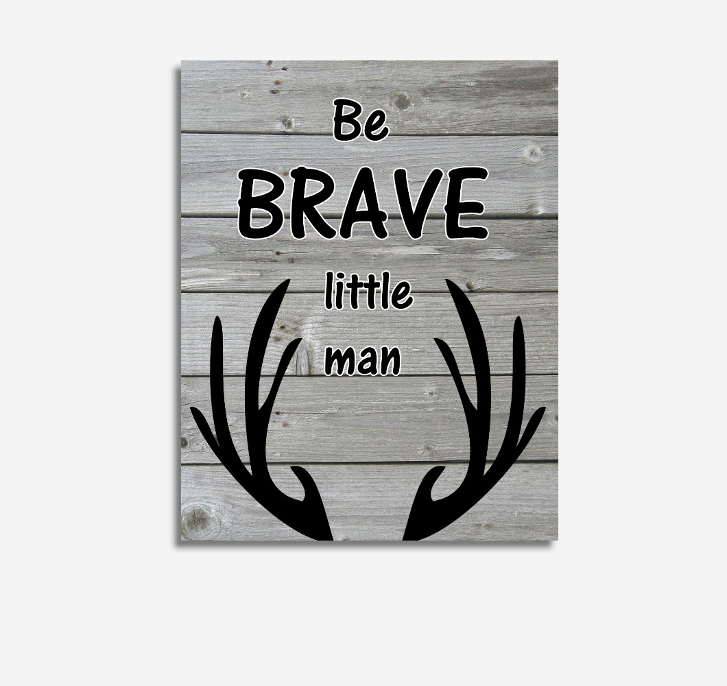 Black Gray Be Brave Deer Antler Woodland Tribal Baby Boy Nursery Wall Art Prints Canvas Rustic Decor