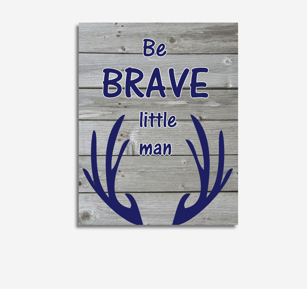 Navy Blue Be Brave Deer Antler Woodland Tribal Baby Boy Nursery Wall Art Prints Canvas Rustic Decor