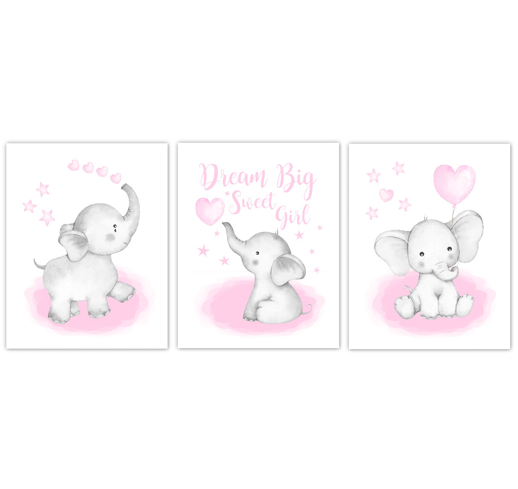 Watercolor Pink Elephants Baby Nursery Art Elephant Wall Decor Elephant With Balloons Baby Elephant Canvas Art Baby Room Nursery Decor Set of 3 UNFRAMED PRINTS or CANVAS