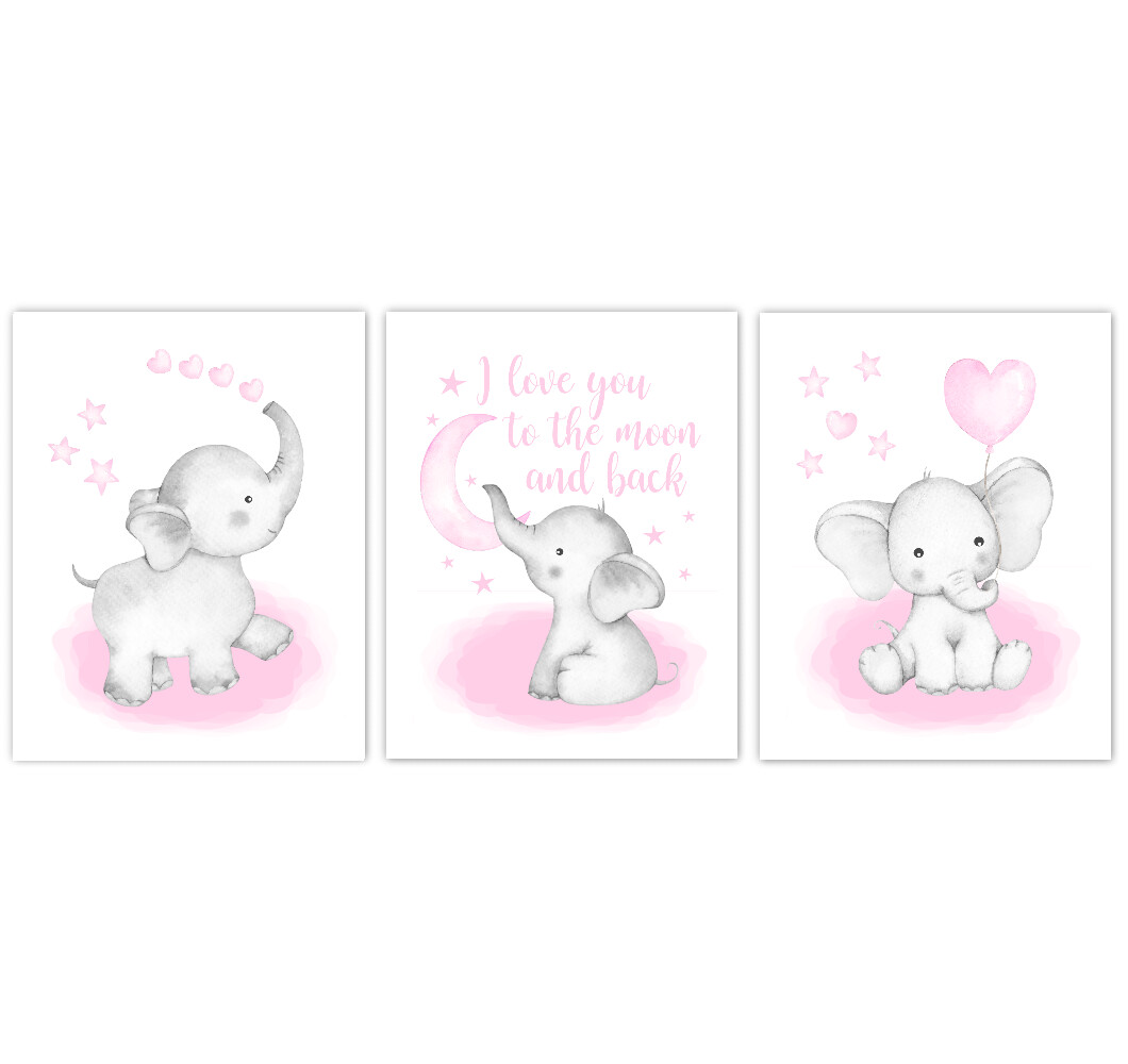 Watercolor Pink Elephants Baby Girl Nursery Art Wall Decor 3 UNFRAMED PRINTS or CANVAS