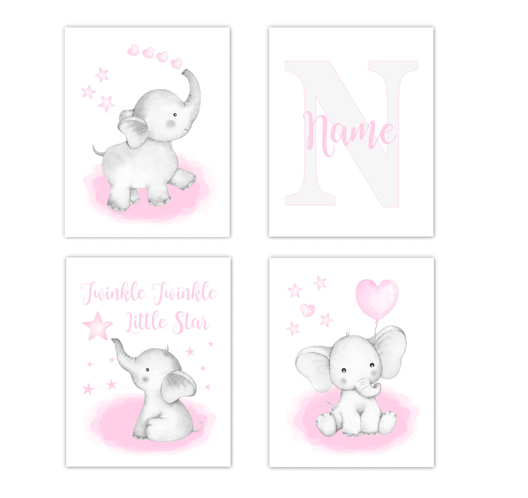Watercolor Pink Elephants Baby Girl Nursery Art Wall Decor 4 UNFRAMED PRINTS or CANVAS