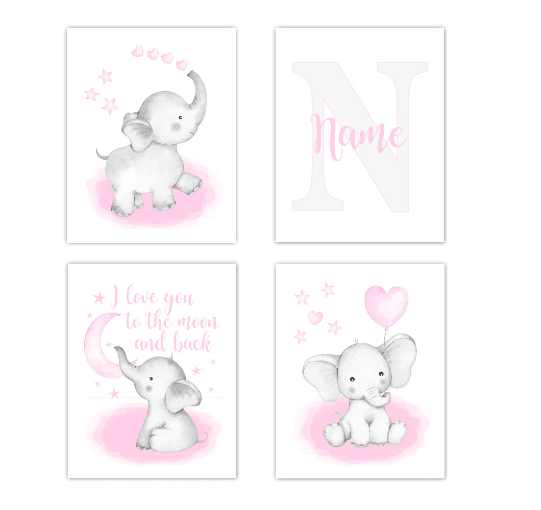 Watercolor Pink Elephants Baby Girl Nursery Art Wall Decor 4 UNFRAMED PRINTS or CANVAS
