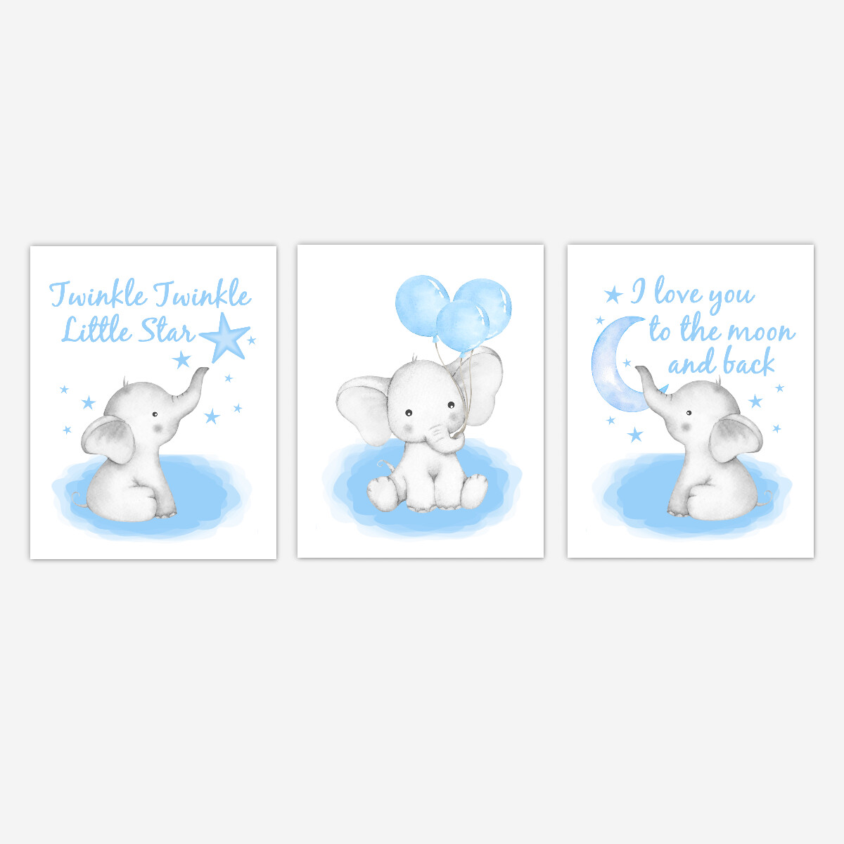Watercolor Blue Elephants With Balloons Baby Boy Nursery Art Wall Decor 3 UNFRAMED PRINTS or CANVAS