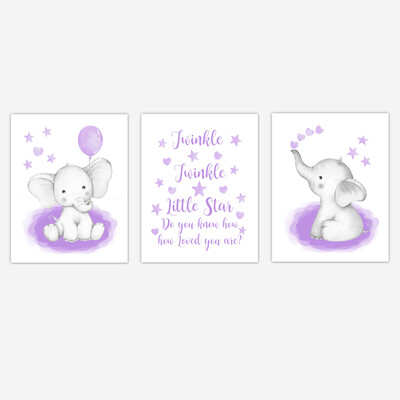 Watercolor Purple Elephants Baby Girl Nursery Art Wall Decor  3 UNFRAMED PRINTS or CANVAS