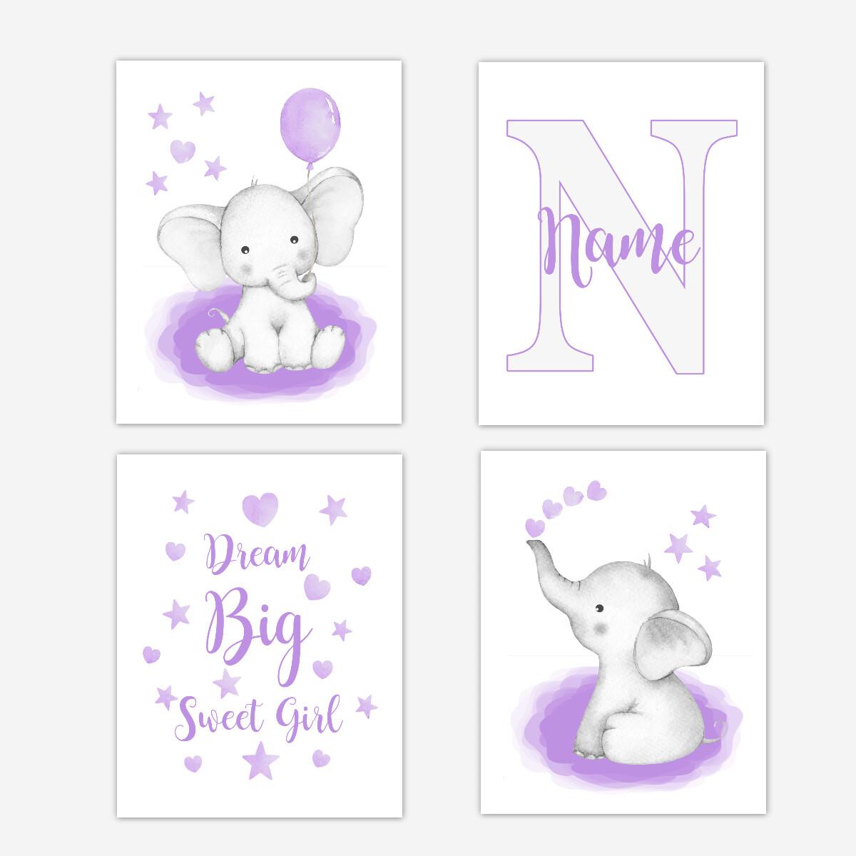 Watercolor Purple Elephants Baby Girl Nursery Art Wall Decor 4 UNFRAMED PRINTS or CANVAS